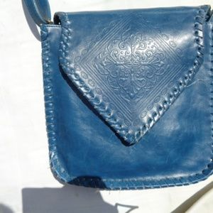 vintage tooled  leather shoulder bag hobo